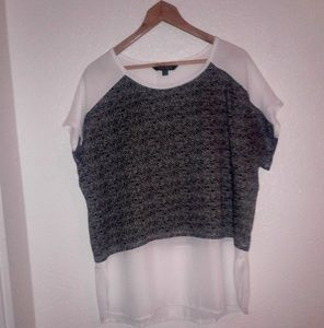 Women 1X Black & White Top